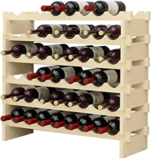 DlandHome 6 Etagère pour 48 Bouteilles Etagère à Vin Casier à Bouteille Modulable Range-Bouteilles en Bois 90 x 30 x 81 cm