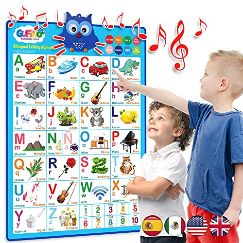 LVAP Bilingual Talking Alphabet Poster by Gufino- English & Spanish Educational Interactive Poster- ABC, Numbers, Colors, Songs & More- Perfect Educational & Learning Toy & Preschool Kids