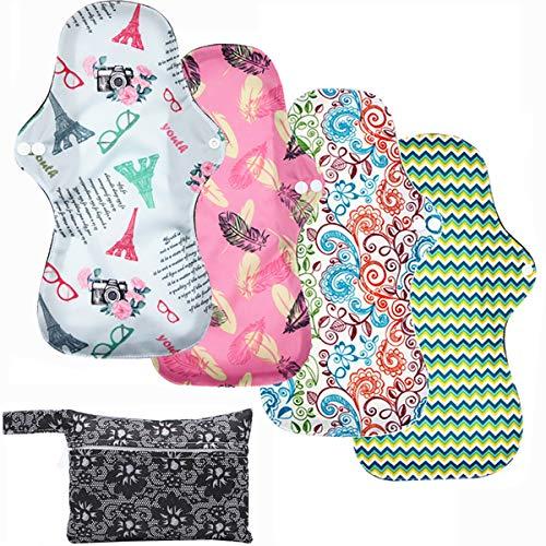 ZCOINS Lot de 4 serviettes hygiéniques réutilisables - Débit élevé - 34 cm - Serviettes hygiéniques lavables - Longue nuit - Avec 1 sac étanche
