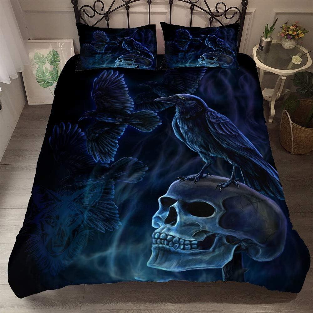 Erosebridal Sugar Skull Bedding Duvet Cover Queen 3D Printed Gothic Skull Bedding Set Floral and Skull Soft Retro Comforter Cover for Home Decor Horror Skulls Bed Quilt Cover Skull Theme Bedding Set C