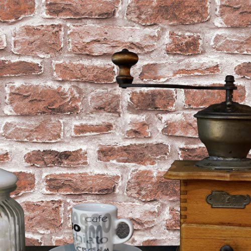 JZ·HOME 7032 Cement Brick Wallpaper Rolls,Brown-red/White Vintage Faux Brick Wallpaper Bedroom Living Room Bar Wall Decoration 393.7in×20.8in