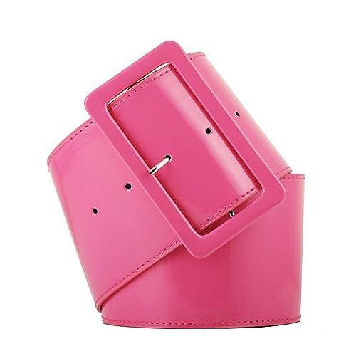 eb4044d78 Womens Retro PVC Wide Cinch Belt - Big Buckle Waist Shiny Srylish Girls  70's Style