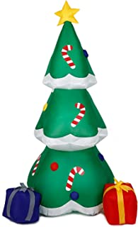 Albrillo Christmas Inflatable Tree with LED Lights Indoor Outdoor Yard Lawn Decoration - Cute Fun Xmas Holiday Blow Up Party Display, 6 Foot Tall