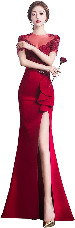 Epinkbridal Applique Sequin Party Gowns Women's Mermaid High Slit Evening Formal Dress