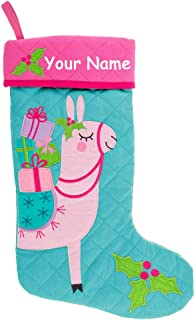 Stephen Joseph Personalized Pink Llama with Gifts and Christmas Holly Bush Quilted Christmas Stocking Decoration with Custom Name