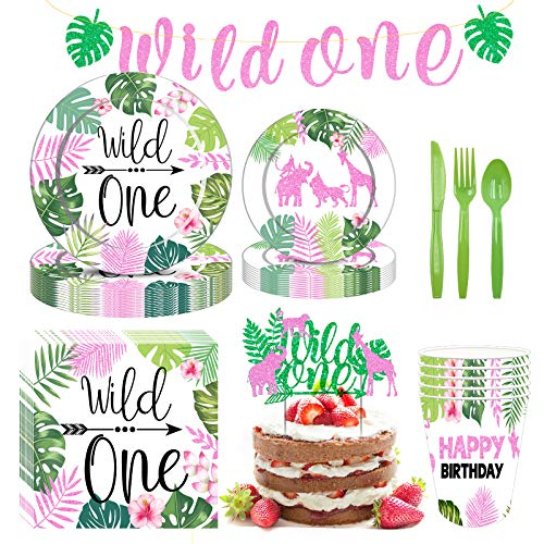 Formemory Wild One Birthday Party Supplies Set, 16 Guests Jungle Birthday Party Tableware with Paper Plates Cups Napkins Banner for Wild One Boy Girl Kids 1st Birthday Decorations
