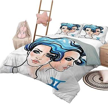 Duvet Cover King Size Zodiac Gemini Lightweight Bedroom Bedspread for All Season Watercolor Women