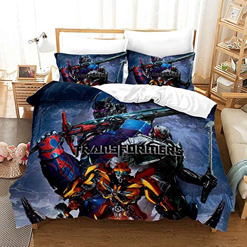 YARIVI Transformers Bedding Sets for Boys Super Soft Bumblebee Optimus Prime Quilt Cover 3 Piece 100% Polyester Kids Teens Bed Set 1 Duvet Cover 2 Pillowcase