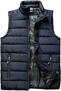 Vcansion Men's Outdoor Casual Stand Collar Padded Vest Coat