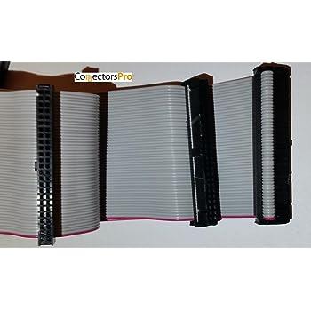"PC Accessories - Connectors Pro 24 Inches 3 Female Connectors IDC 2x25 50P SCSI Internal Flat Ribbon Cable, 24"" SCSI-1 50 Pins"