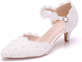 Women High Heels Sandals White Lace Pearls Wedding Shoes Pointed Toe Bridal Shoes