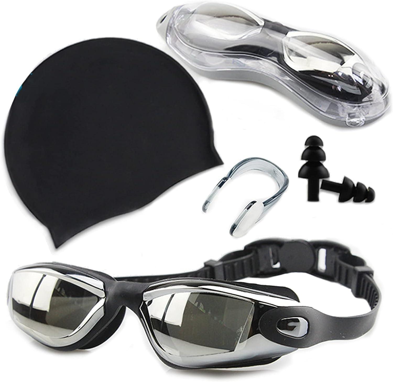 Lixada Gafas de Natación y Gorra Kit Impermeable Protección UV con Enchufe de Oído Clip de Nariz sin Fugas para Unisexo
