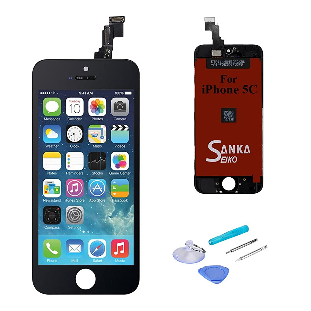 SANKA Screen Replacement Compatible for iPhone 5C, LCD Digitizer Display Retina Touch Screen Glass Frame Assembly Full Repair Kit with Tools
