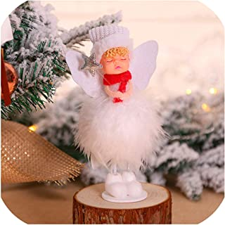 Sweet-Cupid Cute Angel Doll Girl Ski Pendant Christmas Tree Decorations for Home Wooden Christmas Tree Ornaments Xmas Gift for Kids,37-1