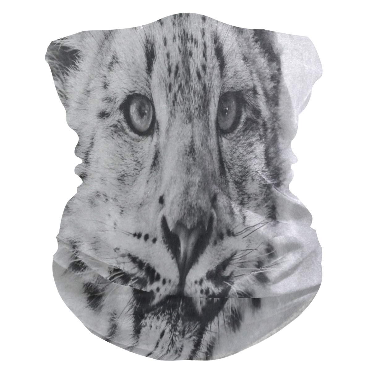Funny Winter Snow Leopard Animal Half Face Mask Scarf Cover Dust Wind Neck Warmer Bandana Women Men