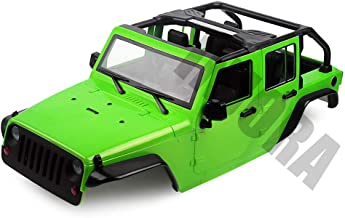 INJORA Unassembled Kit 313mm Wheelbase Convertible Open Car Jeep Wrangler Body Shell for 1/10 RC Crawler Axial SCX10 90046 (Green)