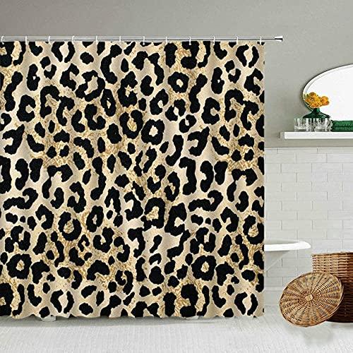 Afrikanischer Stil Leopard Muster Duschvorhang Wild Animal Print Badezimmer Badewanne Dekoration Geschenk wasserdichte Vorhänge Bildschirm-1_90x180cm