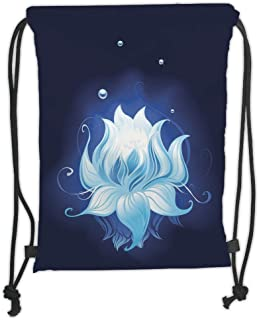 Drawstring Backpacks Bags,Floral,Zen Lotus with Dew Drops Reflected in Dark Water Background Yoga Spirit Image,Indigo Sky Blue Soft Satin,5 Liter Capacity,Adjustable String Closure