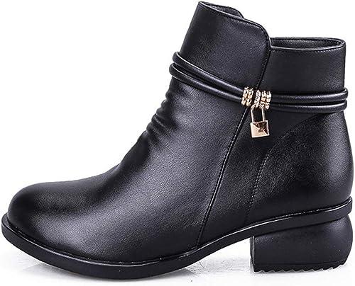 ZHRUI Bottes de Moto féminines en Cuir, Chaussures légères imperméables Chaudes, Bottines Chaudes en Peluche (Couleuré   Noir, Taille   5.5 UK)
