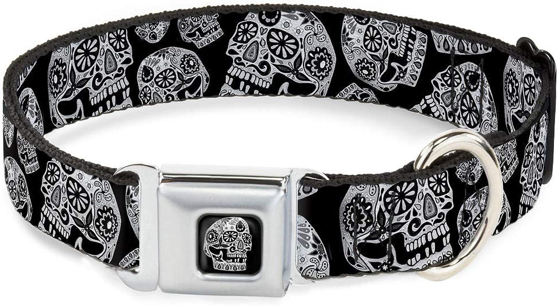 BuckleDown DCWTY005WM Dog Collar Seatbelt Buckle, Black White, 1.5  by 1623