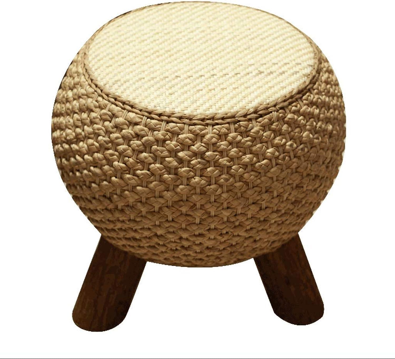 Home Rattan Stool, Creative Fashion Balcony Solid Wood Sofa Straw Tea Table Round Stool