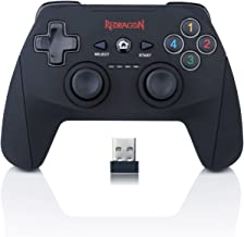 Redragon G808 Gamepad, PC Game Controller, Joystick with Dual Vibration, Harrow, for Windows PC, PS3, Playstation, Android, Xbox 360 (Black-Wireless)