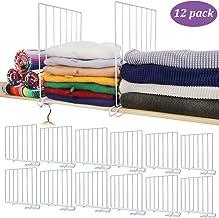 Mebbay 12 Pack Closet Wire Shelf Dividers Vertical Metal Organizer Separators for Wood Shelf Wardrobe Cabinets Kitchen Off...