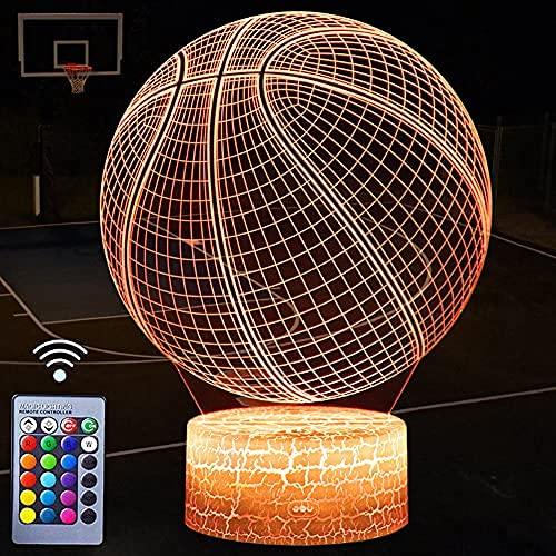 Lámpara de noche con diseño de pelota de baloncesto, 3D LED con mando a distancia y cable USB, 16 colores cambiables