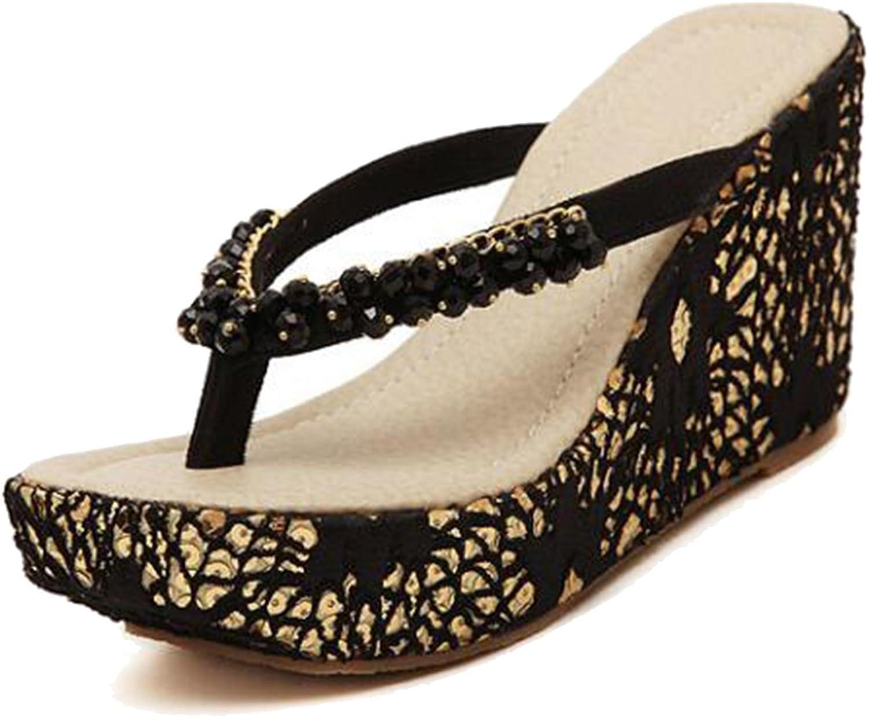 COVOYYAR Women's Rhinestone Beads Wedge Heel Platform Flip Flops Slip On shoes