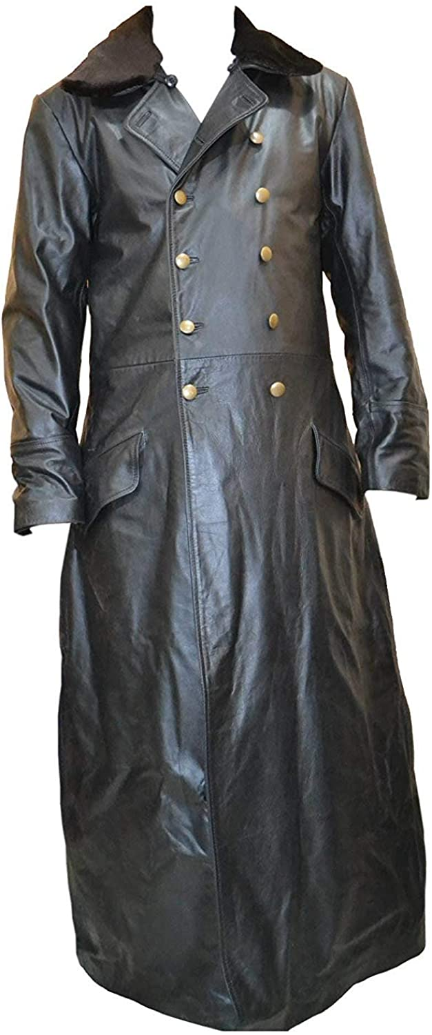 WW2 World War 2 Leather German Waffen Elite Officers Military Fur Collar Black Long Coat SouthBeachLeather