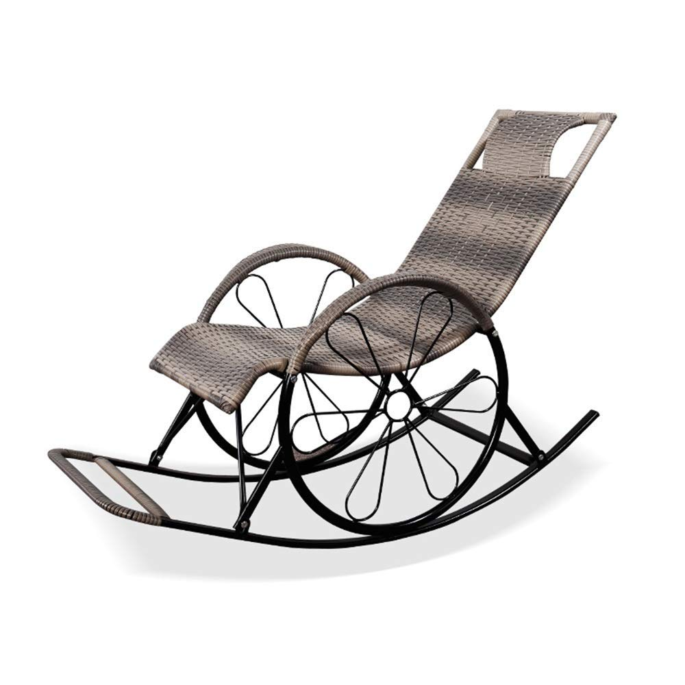 Sedia a Dondolo in Legno Texas 60,5 x 109 x 113 cm//larice//Look shaby Chic Bianco//Grigio Ampel 24