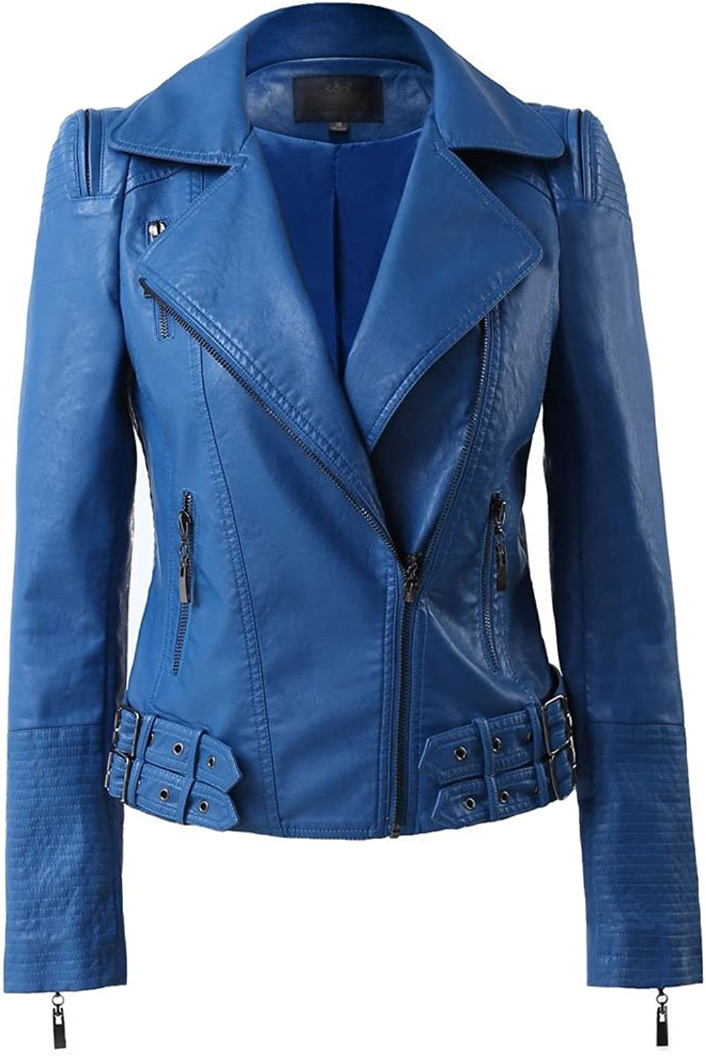 Benibos Womens Faux Leather Zip up Moto Biker Jacket with Many Details (M, 102bluee)