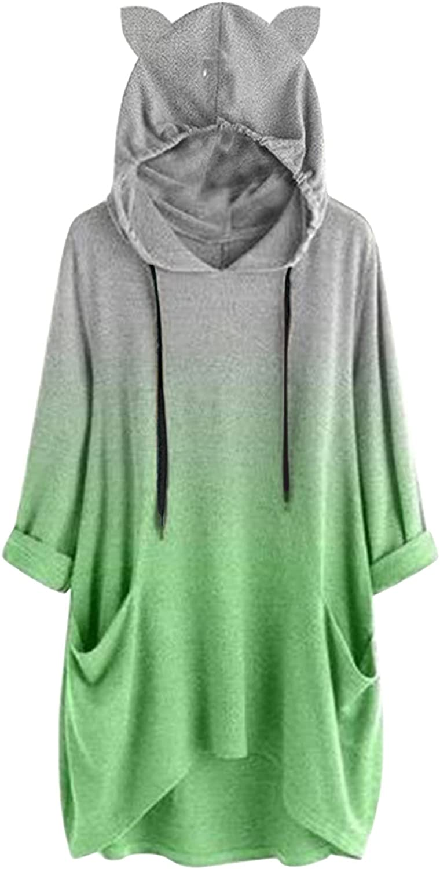 Womens Drawstring Hoodie Bunny Ear Casual Loose Long Sleeve Tie Dye Colorblock Trendy Sweatshirt