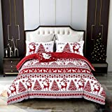 Qucover ChristmasLodge Elk Duvet Cover Sets Bedding- Hypoallergenic- Includes 1 Bed Red Duvet Cover+ 2 Pillow Shams +1 Throw Pillow Cover King, No Comforter or Sheet