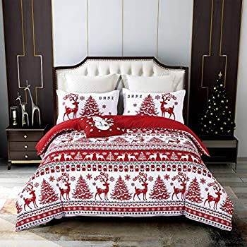 Qucover ChristmasLodge Elk Duvet Cover Sets Bedding- Hypoallergenic- Includes 1 Bed Red Duvet Cover+ 2 Pillow Shams +1 Throw Pillow Cover King No Comforter or Sheet