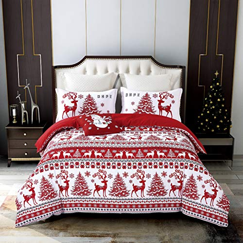 Qucover Christmas Duvet Cover Set, Lodge Elk Reversible Jacquard Bedding Duvet Cover Sets with Decorative Throw Pillow Cover 4 Piece Red for Queen/Double Bed