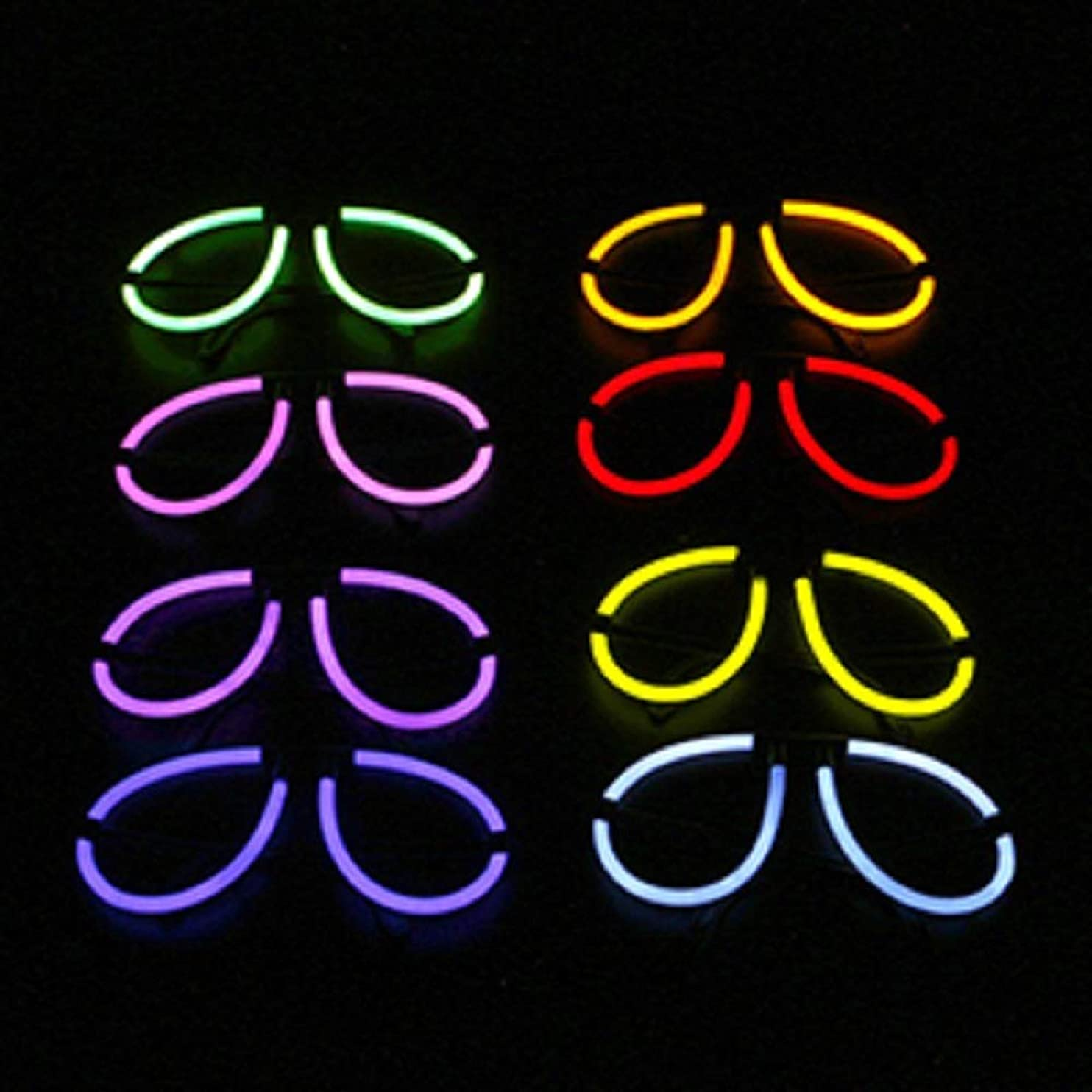 Lumistick Aviator Glow Eyeglasses | Light Up Glow Eyeglasses Eye-catching Party Wear | Perfect for Festivals Raves Discos & Partys (50, Assorted) tvpghtftopy80