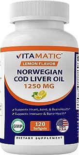 Vitamatic Norwegian Cod Liver Oil 1250mg 120 Softgels (Lemon Flavor) - Promotes Cardiovascular Health