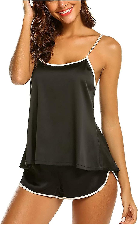 Pajama Suit for Women Sexy Lingerie Ice-Silk Satin Camisole Shorts Set Modal Underwear Nightgown Homewear