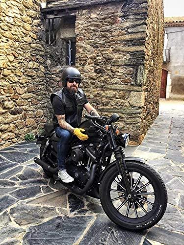 """Gilet da motociclista nero con linguetta Revolver USA 1.3 taglio in pelle (2XL 44\""""-111cm)"""