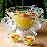 Glass Punch Bowl Set - 27 Piece Vintage Glass Punchbowl with 12 Punch Cups