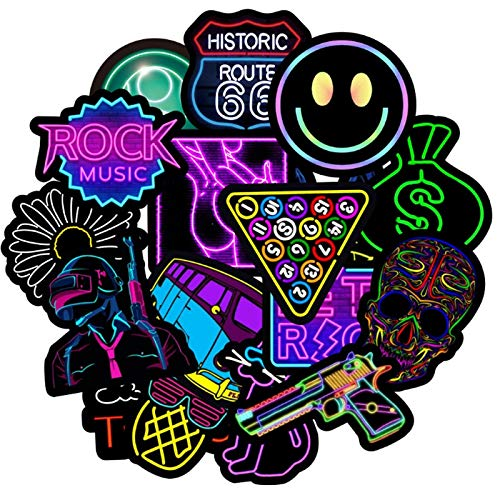 BLOUR 50 Uds Luces de neón Graffiti Impermeable monopatín Maleta de Viaje teléfono portátil Equipaje Pegatinas Lindos Juguetes para niñas y niños