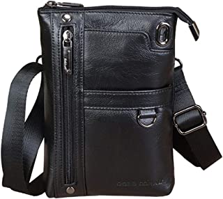 Leather Men's Mobile Phone Bag Travel Shoulder Bag Mobile Phone/Mobile Phone Bag Men's Casual Messenger Bag (Color : Black, Size : S)
