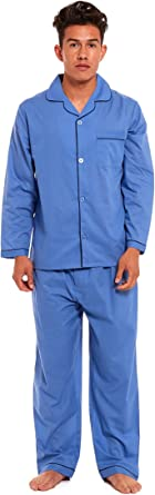 Mens Traditional Pyjamas 2 Piece Set Classic Style Plain Poly Cotton Pjs Nightwear Lounge Wear Sleepwear Suits Button Up Long Sleeve Shirt Tops Pants Trousers Bottoms
