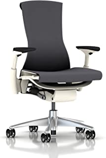 Herman Miller Embody Ergonomic Office Chair with White Frame/Titanium Base | Fully Adjustable Arms and Translucent Casters | Charcoal Rhythm