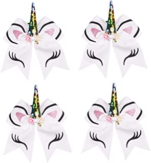 Oaoleer 7 inch Unicorn Cheer Bows Girls Hair Bows With Elastic Band for Cheerleader Girls Pack of 4