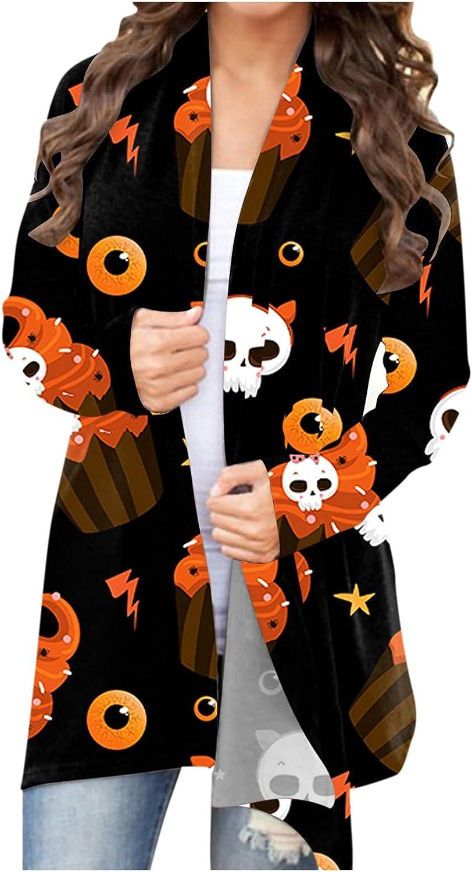 UOCUFY Womens Lightweight Cardigans, Womens Halloween Funny Pumpkin Cat Ghost Long Sleeve Open Front Coat Plus Size