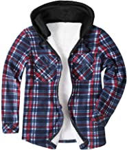 Smoxx Men's Long Sleeve Quilted Line Flannel Jacket with Hood,Loose Plaid Patchwork Outwear Woolen Coat for Autumn Winter