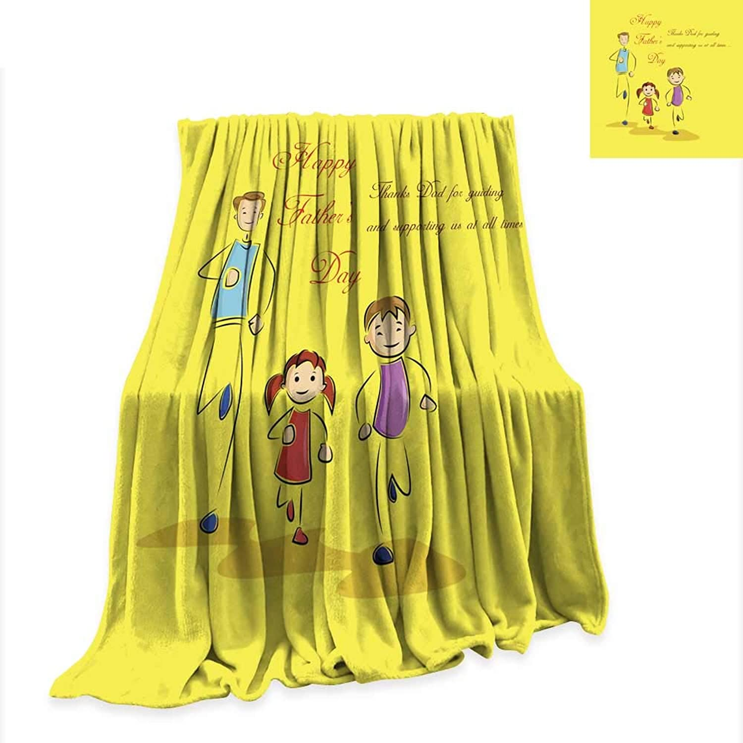 Anniutwo Lightweight Blanket Father s Day Background with Father and Kids 60 x36