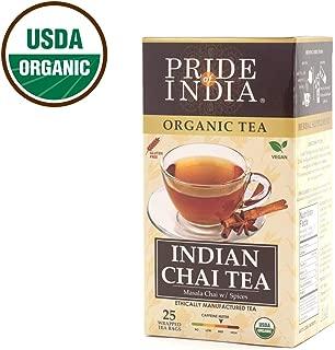 Pride Of India Organic Indian Chai Tea, 25 Tea Bags